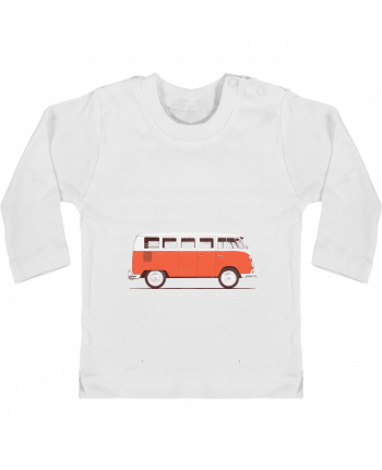 Baby T-shirt with press-studs long sleeve Red Van manches longues du designer Florent Bodart