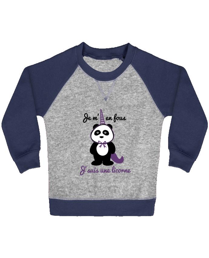 Sweatshirt Baby crew-neck sleeves contrast raglan Je m'en fous j'suis une licorne, panda by Benichan