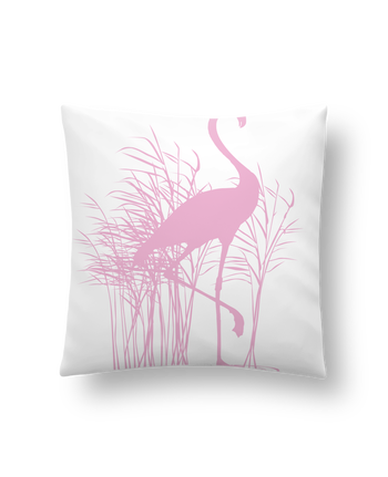 Cushion synthetic soft 45 x 45 cm Flamant rose dans roseaux by Studiolupi