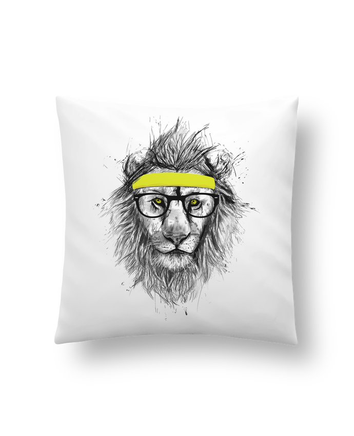Cushion synthetic soft 45 x 45 cm Hipster Lion by Balàzs Solti
