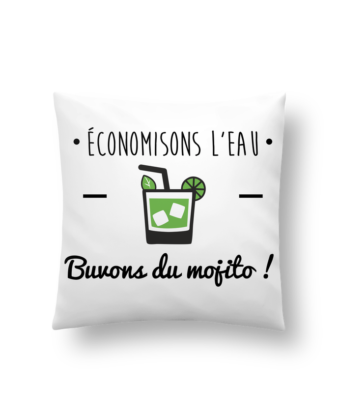 Cushion synthetic soft 45 x 45 cm Économisons l'eau, buvons du mojito ! Humour , alcool , citations by Benichan