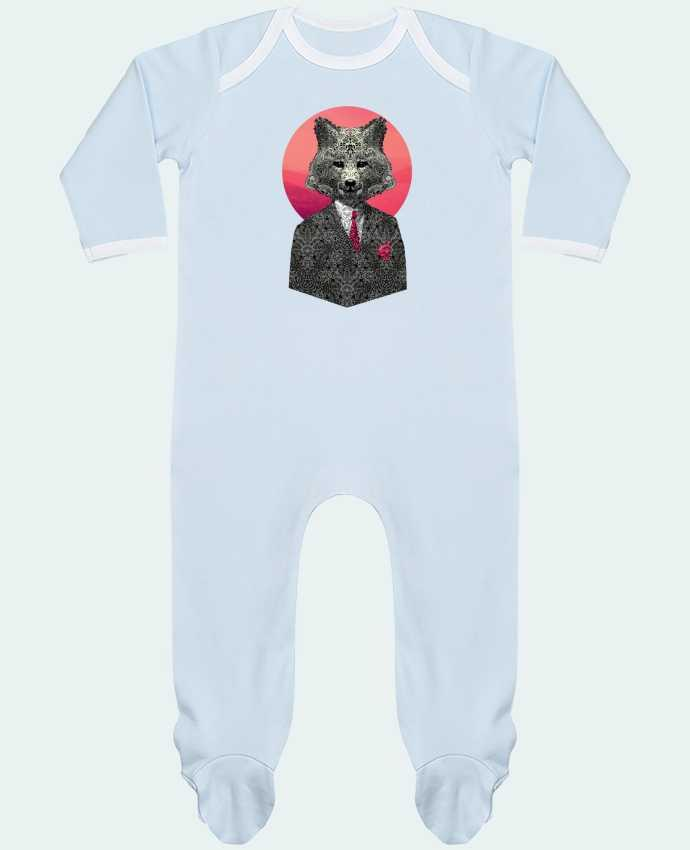 Baby Sleeper long sleeves Contrast Very Important Fox by ali_gulec