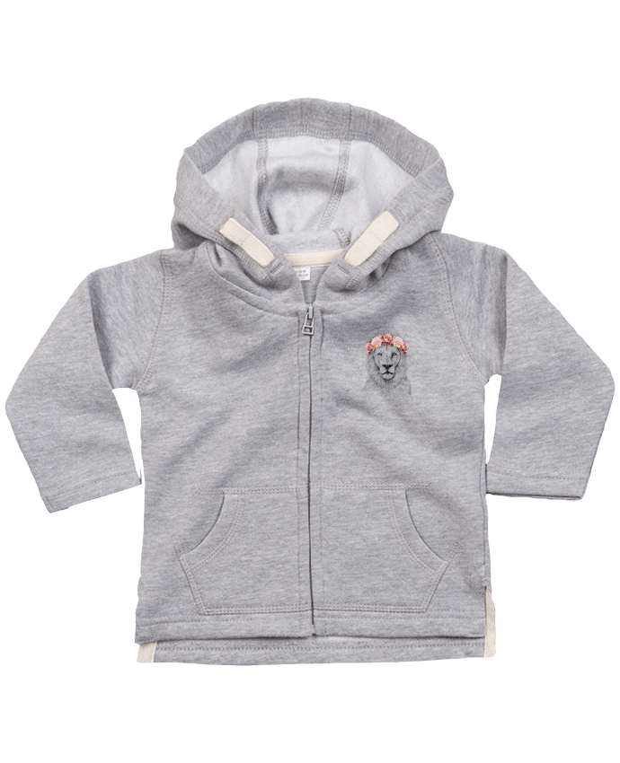 Hoddie with zip for baby Festival Lion by Balàzs Solti