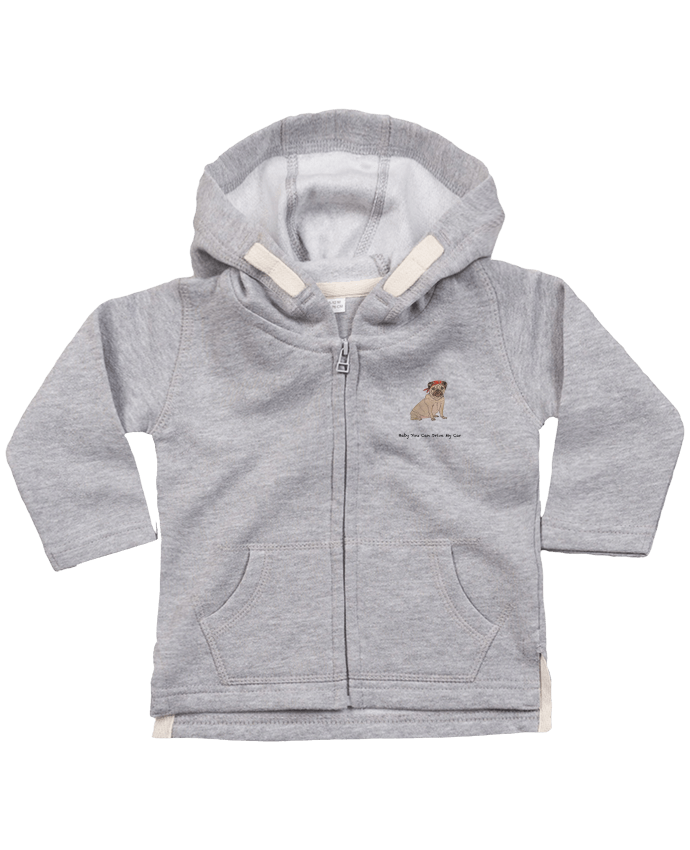 Hoddie with zip for baby BABY YOU CAN DRIVE MY CAR by La Paloma