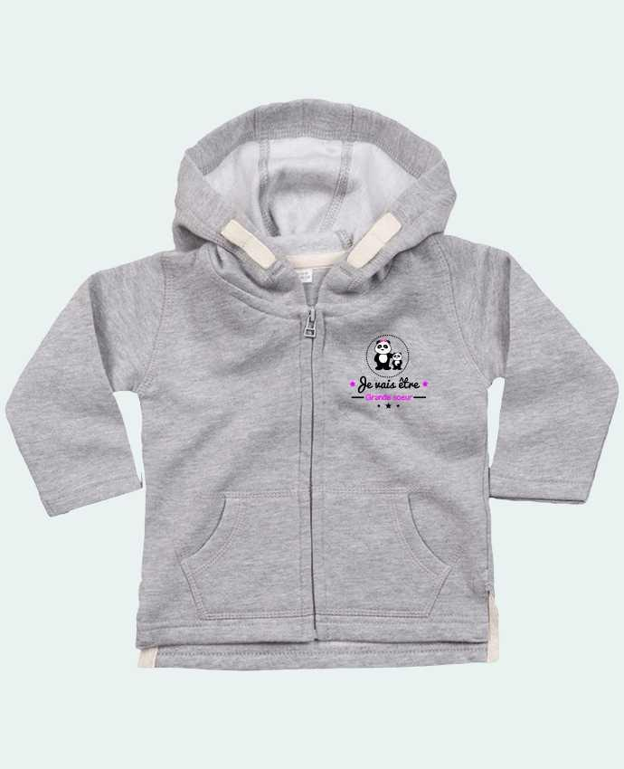 Hoddie with zip for baby Bientôt grande soeur - Future grande soeur by Benichan