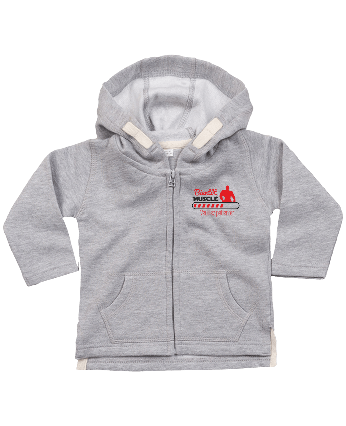 Hoddie with zip for baby Bientôt musclé, musculation, muscu, humour by Benichan
