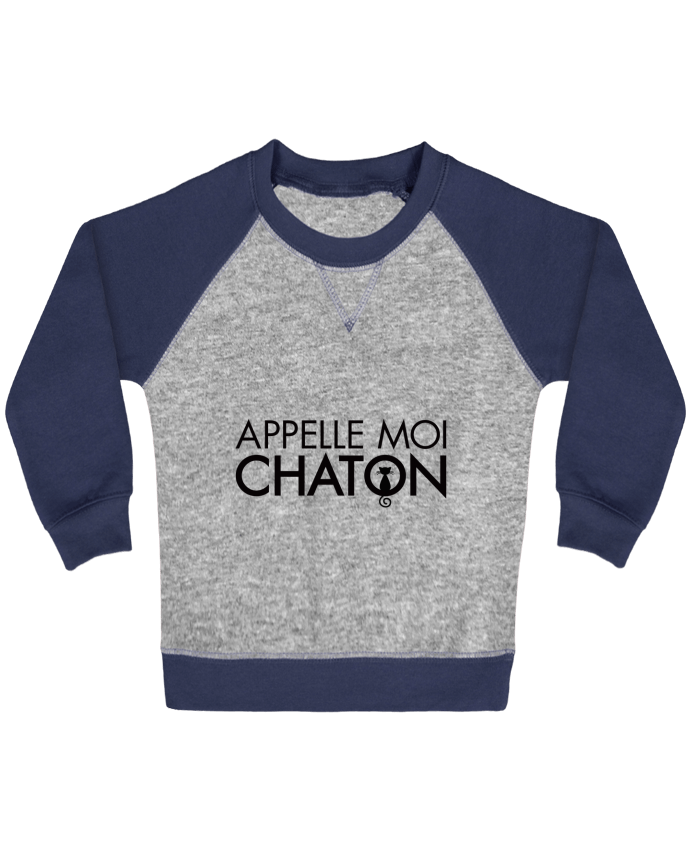Sweatshirt Baby crew-neck sleeves contrast raglan Appelle moi Chaton by Freeyourshirt.com