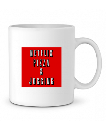 Ceramic Mug Netflix Pizza & Jogging by WBang