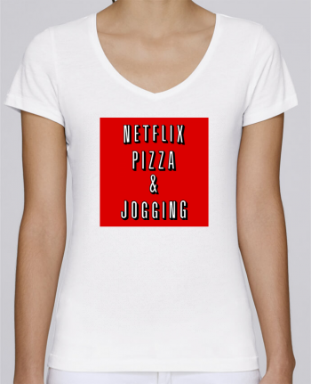 T-Shirt V-Neck Women Stella Chooses Netflix Pizza & Jogging by WBang