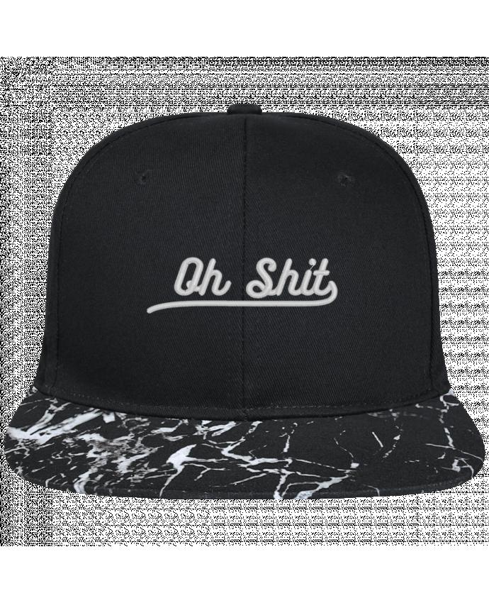 Snapback Cap visor black mineral pattern Oh shit brodé avec toile noire 100% coton et visière imprimée motif