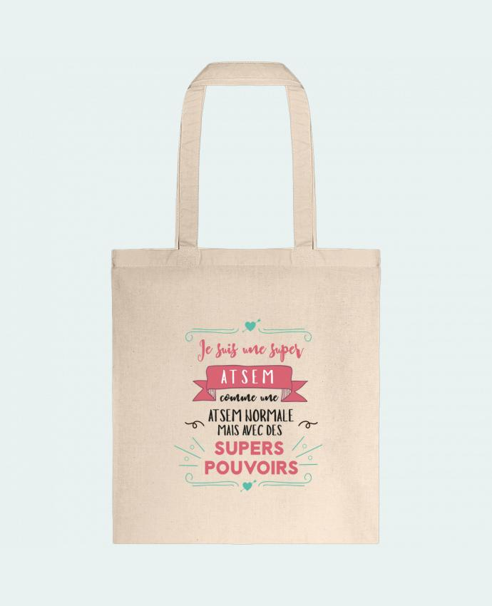 Tote Bag cotton Je suis une super ATSEM by tunetoo