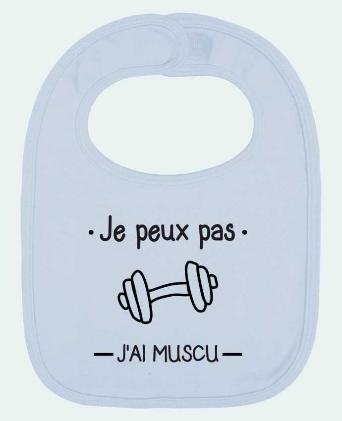 Baby Bib plain and contrast Je peux pas j'ai muscu, musculation by Benichan
