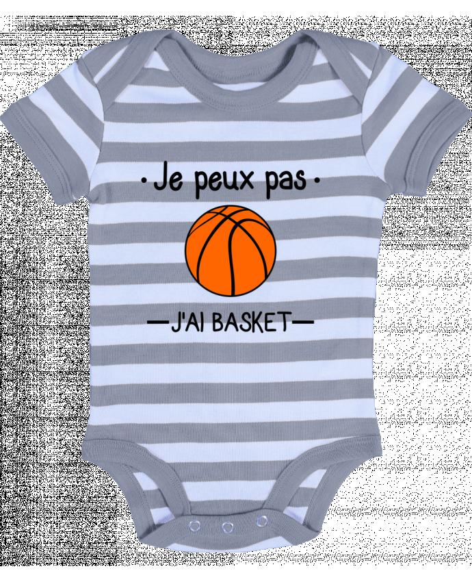 Baby Body striped Je peux pas j'ai basket,basketball,basket-ball - Benichan