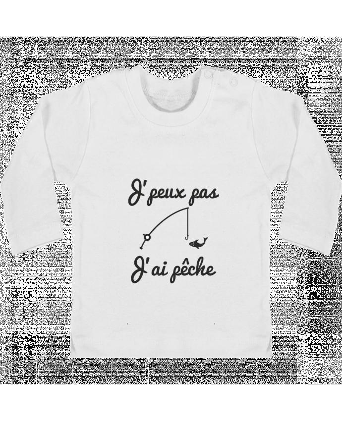 Baby T-shirt with press-studs long sleeve J'peux pas j'ai pêche,tee shirt pécheur,pêcheur manches longues du designer Benichan
