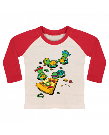 T-shirt baby Baseball long sleeve Pizza lover by flyingmouse365