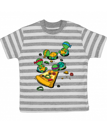 T-shirt baby with stripes Pizza lover by flyingmouse365