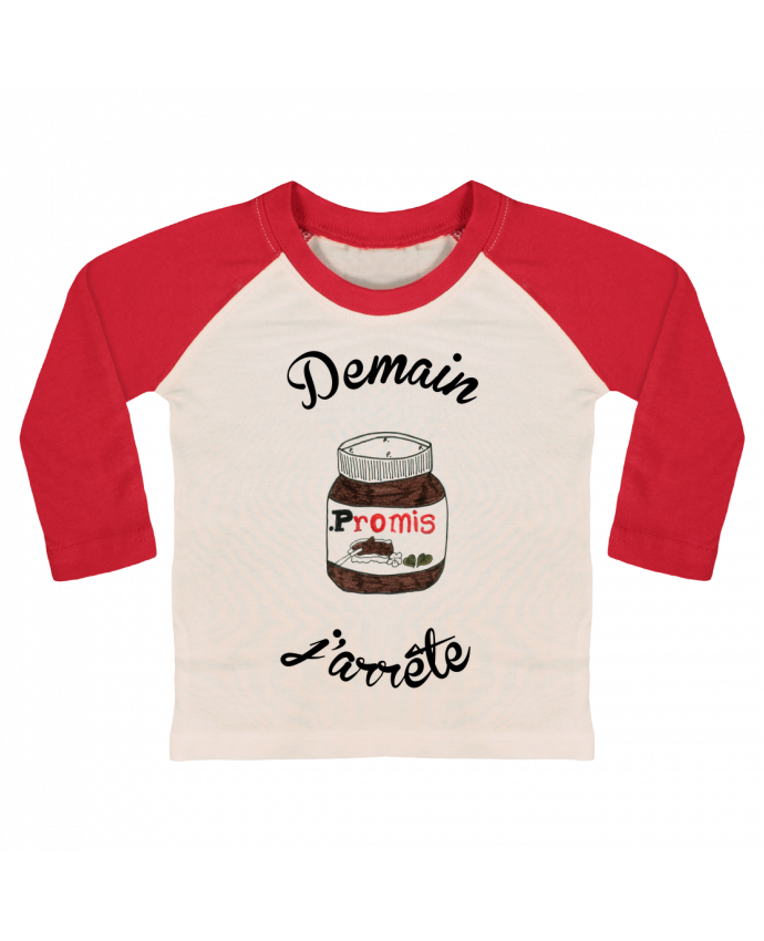 T-shirt baby Baseball long sleeve Demain j'arrête le Nutella by Promis