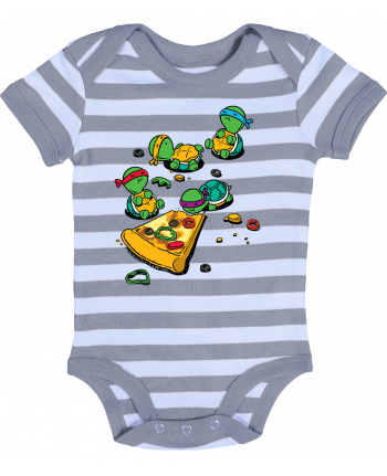 Baby Body striped Pizza lover - flyingmouse365