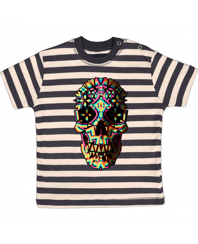 T-shirt baby with stripes Skull Geo by ali_gulec