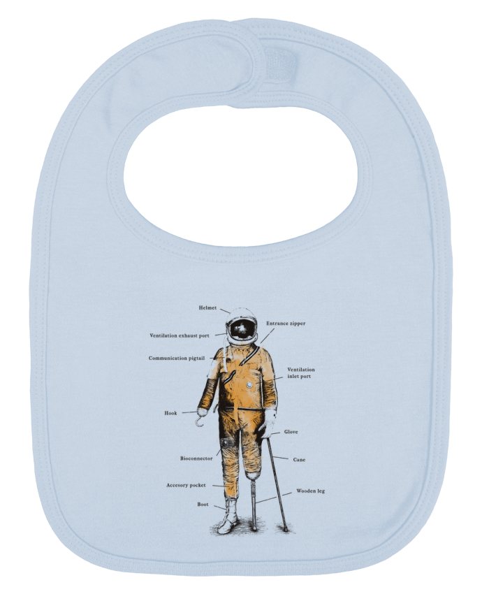 Baby Bib plain and contrast Astropirate with text by Florent Bodart