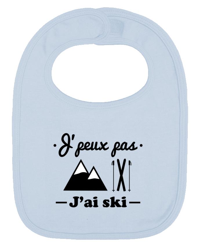 Baby Bib plain and contrast J'peux pas j'ai ski by Benichan