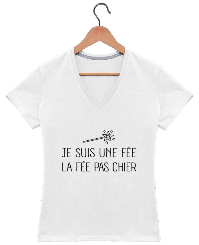 T-Shirt V-Neck Women Je suis une fée la fée pas chier by Freeyourshirt.com