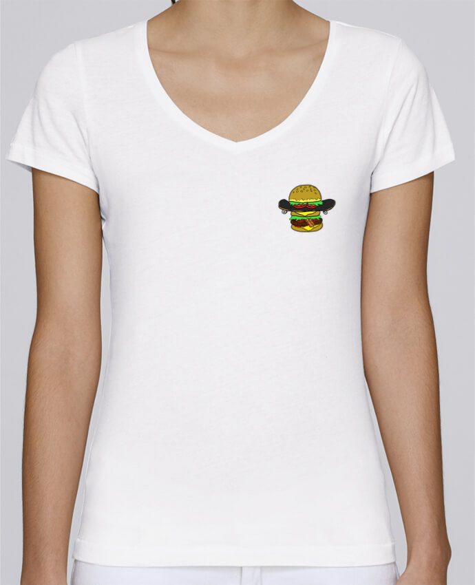 T-Shirt V-Neck Women Stella Chooses Skateburger by Salade