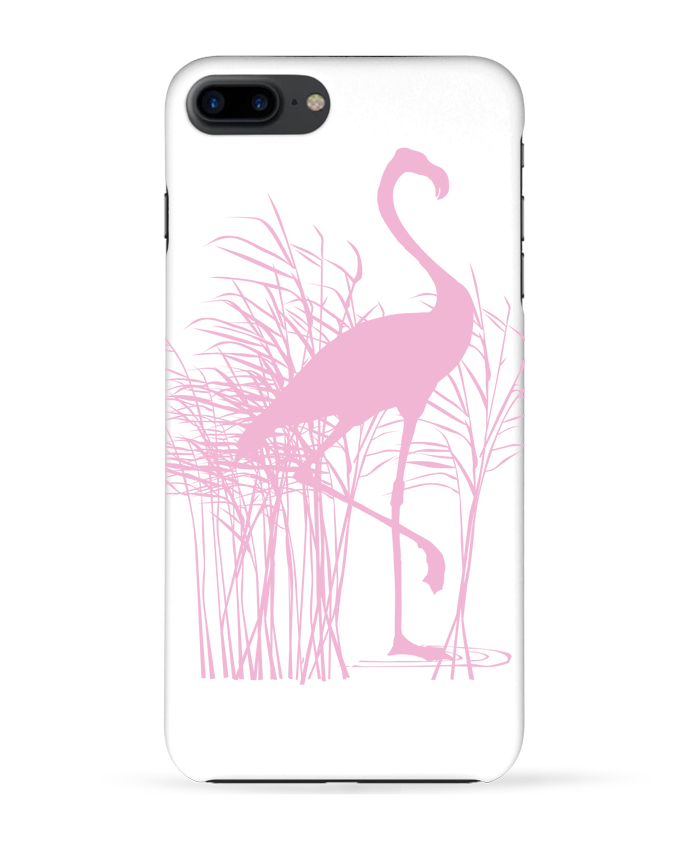 Case 3D iPhone 7+ Flamant rose dans roseaux by Studiolupi