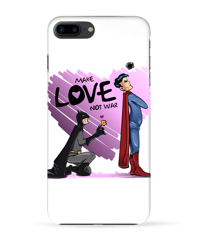 Case 3D iPhone 7+ MAKE LOVE NOT WAR (BATMAN VS SUPERMAN) by teeshirt-design.com
