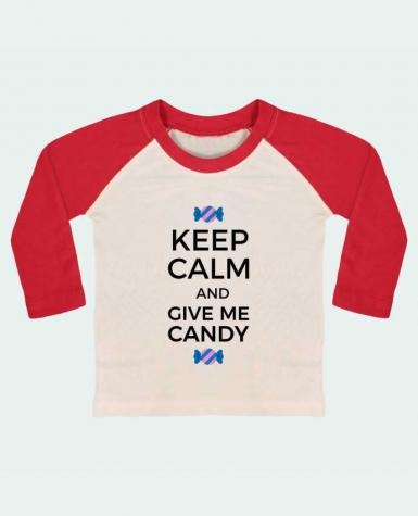 T-shirt baby Baseball long sleeve Keep Calm and give me candy by tunetoo