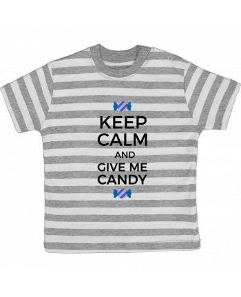 T-shirt baby with stripes Keep Calm and give me candy by tunetoo