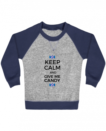Sweatshirt Baby crew-neck sleeves contrast raglan Keep Calm and give me candy by tunetoo