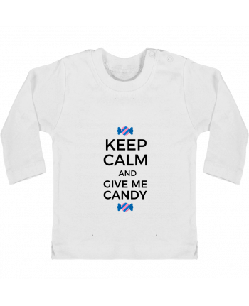 Baby T-shirt with press-studs long sleeve Keep Calm and give me candy manches longues du designer tunetoo