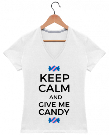 T-Shirt V-Neck Women Keep Calm and give me candy by tunetoo