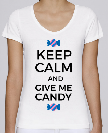 T-Shirt V-Neck Women Stella Chooses Keep Calm and give me candy by tunetoo