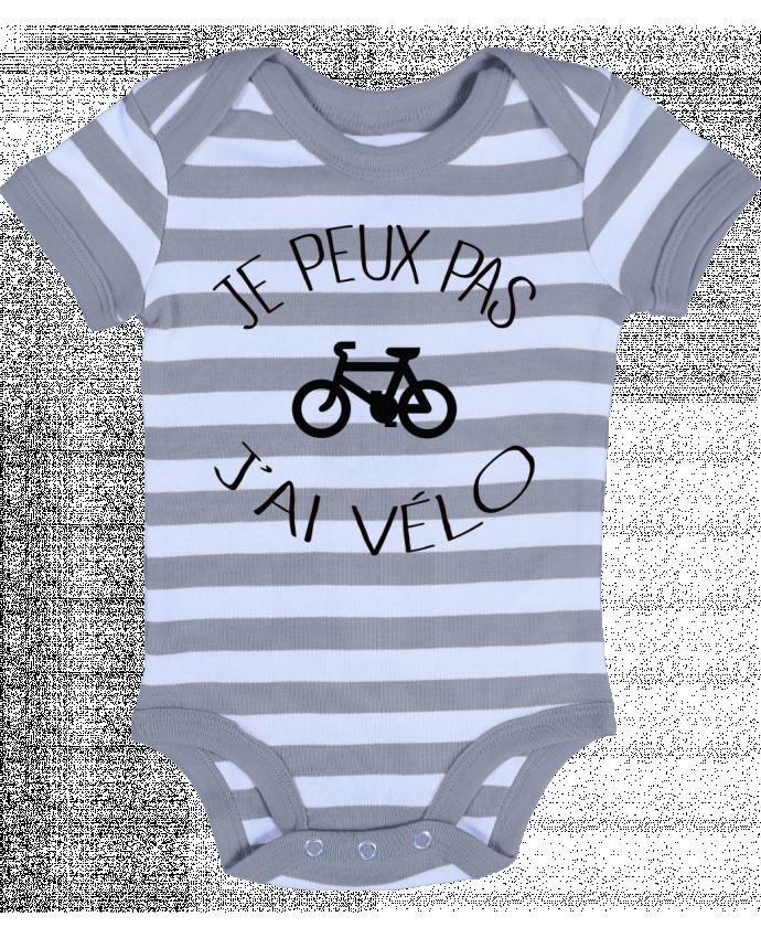 Baby Body striped Je peux pas j'ai vélo - Freeyourshirt.com