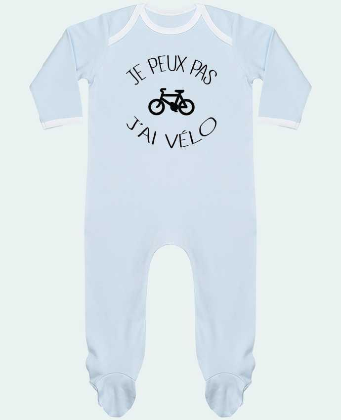 Baby Sleeper long sleeves Contrast Je peux pas j'ai vélo by Freeyourshirt.com