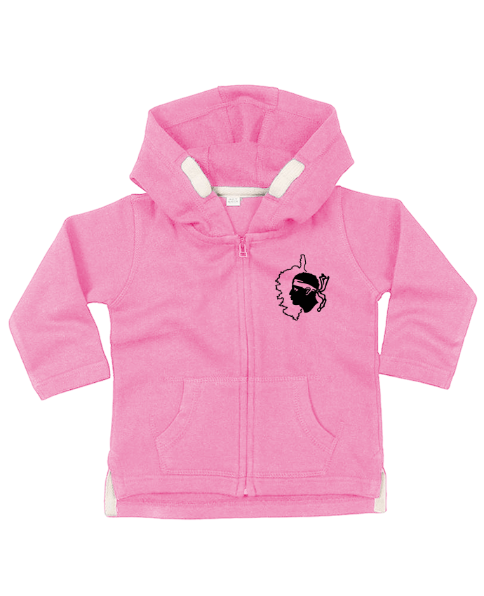 Hoddie with zip for baby Corse Carte et drapeau by Freeyourshirt.com