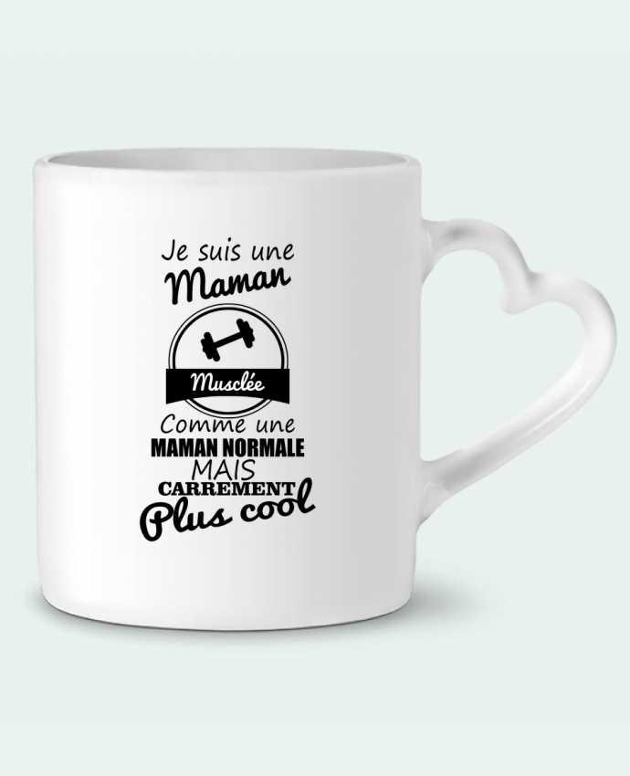 Mug Heart Je suis une maman musclée comme une maman normale mais carrément plus cool by Benichan