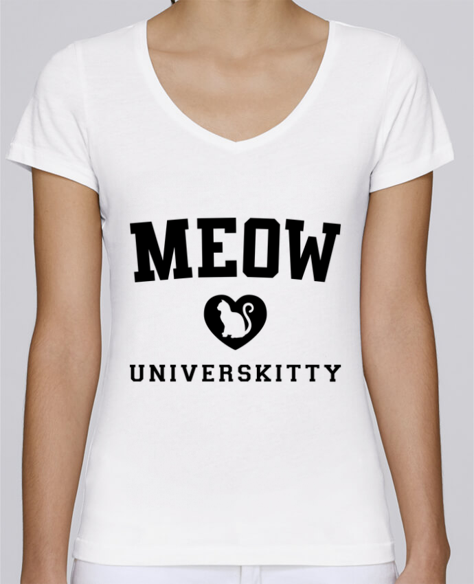 T-Shirt V-Neck Women Stella Chooses Meow Universkitty by Freeyourshirt.com