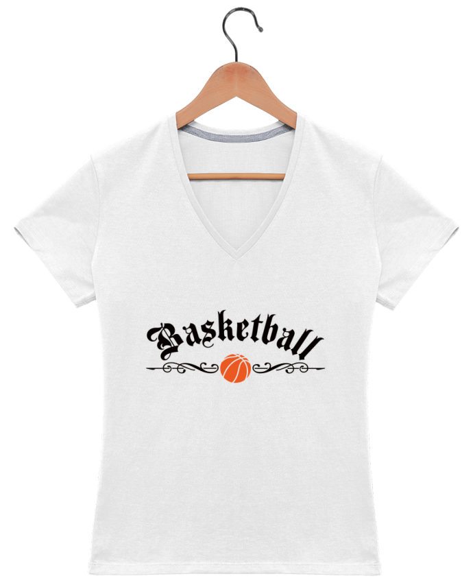 T-Shirt V-Neck Women Basketball by Freeyourshirt.com