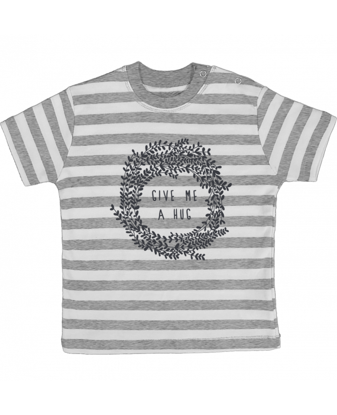 T-shirt baby with stripes Give me a hug by Les Caprices de Filles