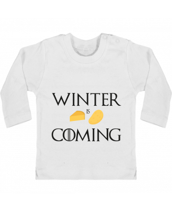 Baby T-shirt with press-studs long sleeve Winter is coming manches longues du designer Ruuud
