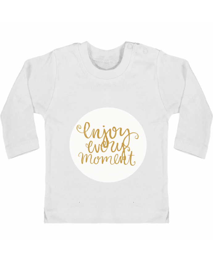 Baby T-shirt with press-studs long sleeve Enjoy every moment manches longues du designer Les Caprices de Filles
