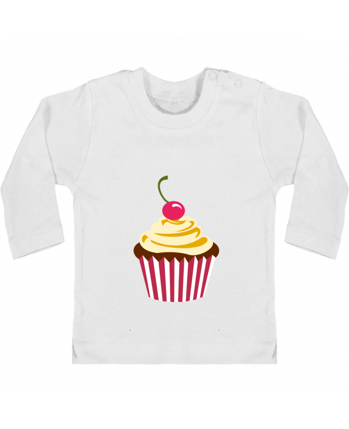 Baby T-shirt with press-studs long sleeve Cupcake manches longues du designer Crazy-Patisserie.com