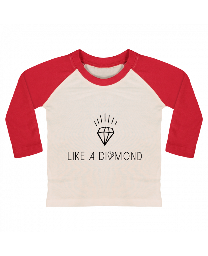 T-shirt baby Baseball long sleeve Like a diamond by Les Caprices de Filles