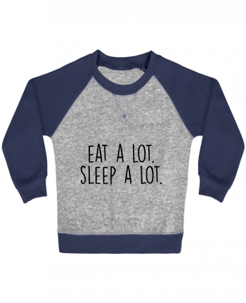 Sweatshirt Baby crew-neck sleeves contrast raglan Eat a lot. Sleep a lot. by Bichette