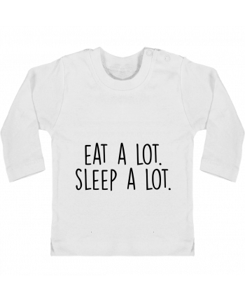 Baby T-shirt with press-studs long sleeve Eat a lot. Sleep a lot. manches longues du designer Bichette