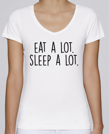 T-Shirt V-Neck Women Stella Chooses Eat a lot. Sleep a lot. by Bichette