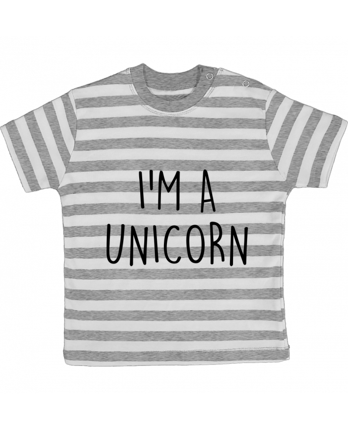 T-shirt baby with stripes I'm a unicorn by Bichette